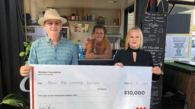 BOXERS: Manager of the Byron Community Centre Paul Spooner with Alice Lefebre and Caroline Maggs from Westpac Byron Bay.