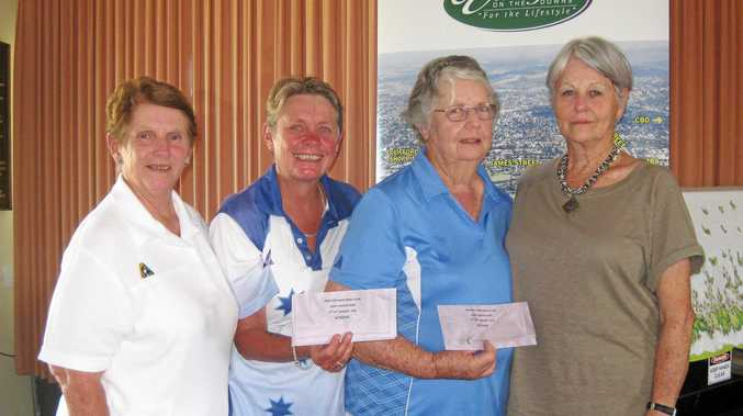 Drayton President Margaret Mills with winners of the Master Singles Lorraine Callaghan and Imelda Brumpton from West Toowoomba and Sponsor Mary Goodall.