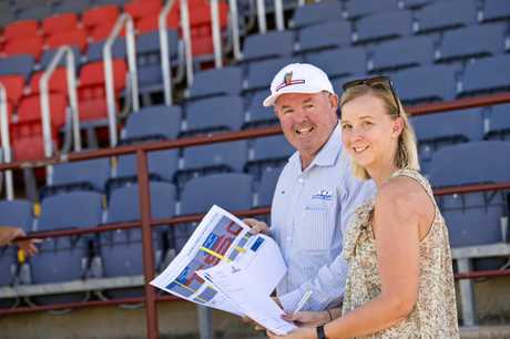 Western Mustangs vice chairman Paul Reedy and Bec Hull of Ezyquip Hire talk about the release of the first corporate seats to the Gold Coast Titans and St George Illawarra Dragons NRL game in Toowoomba.
