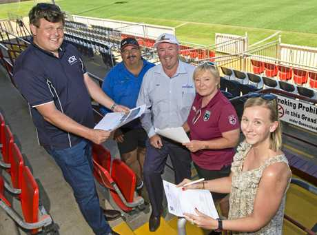 Keen fans secure the first corporate seats to the Gold Coast Titans and St George Illawarra Dragons NRL fixture (from left) Christian Brightwell of IOR Petroleum, Daryl Wise of Wise's Mobile Tyres, Western Mustangs vice chairman Paul Reedy, TRL operations manager Jodie Teys and Bec Hull of Ezyquip Hire.