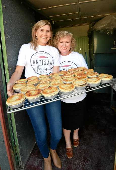 Simone Lawrie and Keely Roberts when they opened Pie Alley in November 2016.