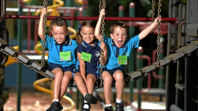 TRAMA TRIO: Coast triplets - Dylan, Ailah and Isaac Trama - start their first day at Prep at North Arm State School.