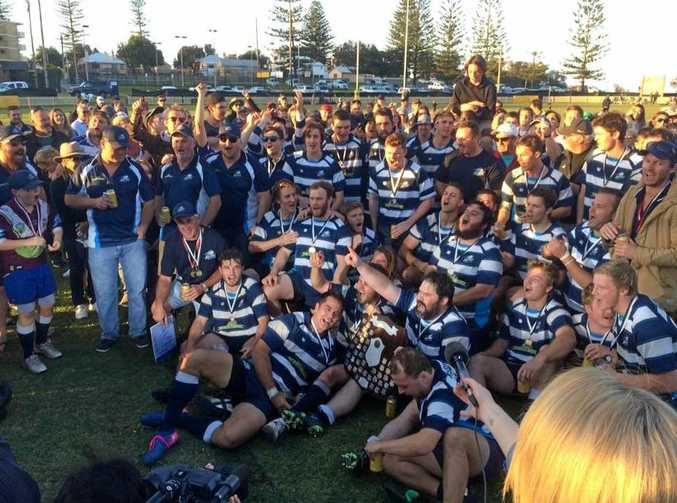 SAME AGAIN? The SCU Marlins, pictured celebrating their thrilling 2017 MNC Rugby grand final win over Hastings Valley, have started their pre-season.