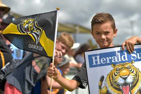 Richmond Tigers AFL team hold a training session at the Maroochydore Multi Sports Complex.Hudson Mudri flies the flag