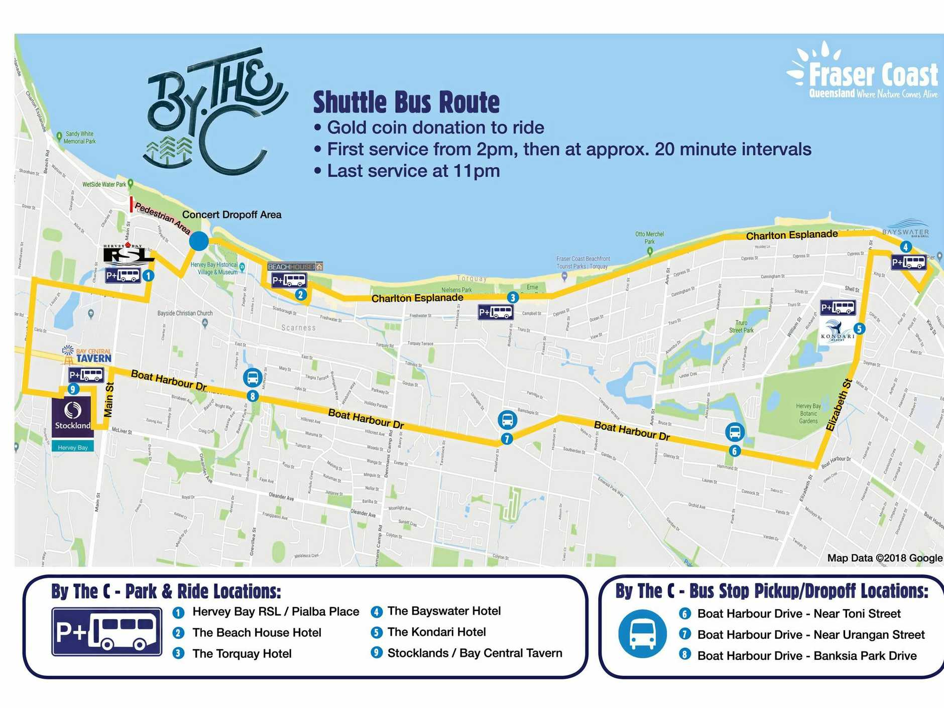 RUNNING LOOP: The bus route map for the upcoming By The C concert in February.