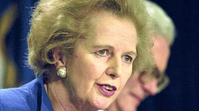 Former British prime minister Margaret Thatcher speaks at a summit in Dublin, Ireland in 1990.