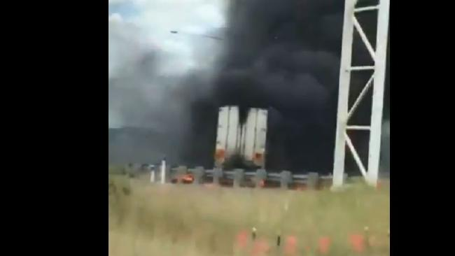 Smoke from the truck fire could be seen several kilometres away. Picture: Supplied/Nine News Gold Coast