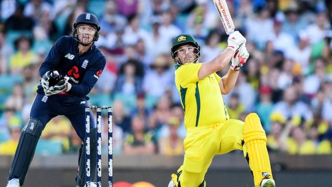 Australian opener Aaron Finch during the third One Day International against England at the SCG on Sunday. Picture: AAP Image/Brendan Esposito
