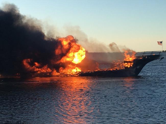 Fire engulfs the casino shuttle boat. Picture: Pasco County Fire Rescue via AP