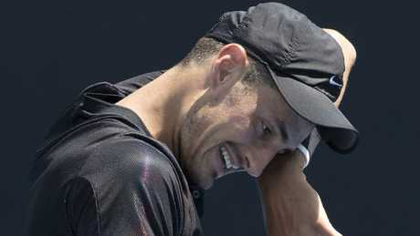 Bernard Tomic's downward spiral came to a head at Australian Open qualifying. Picture: Michael Klein