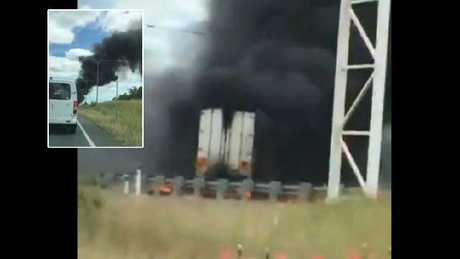 Smoke from the truck fire could be seen several kilometres away. Picture: Supplied/Nine News Gold Coast & 7 News Brisbane