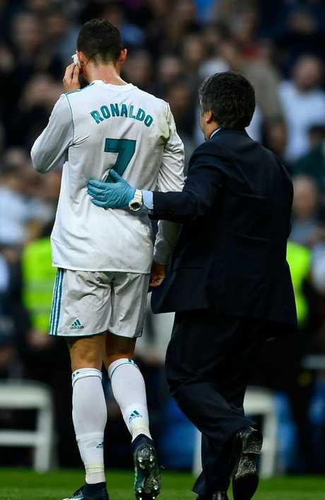 Real Madrid's Portuguese forward Cristiano Ronaldo leaves the pitch.