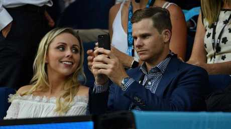 Australian cricket captain Steve Smith was in the house to watch the Djoker. Picture: AFP