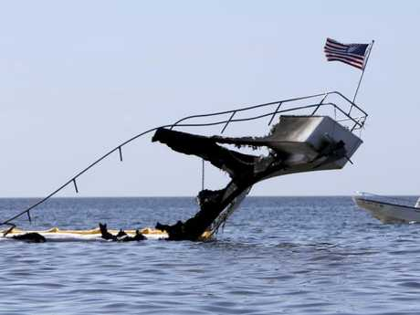 The hull and frame of the shuttle boat after the fire. Picture: AP