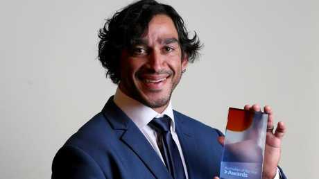 Johnathan Thurston and his Queensland Australian of the Year award. Photo: Steve Pohlner