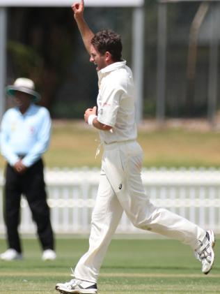 Chadd Sayers took five wickets for Glenelg in a SACA Premier League clash on Saturday. Picture: AAP Image/Dean Martin