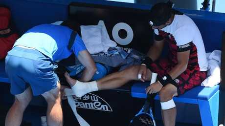 Bad boy Fabio Fognini battled an ankle injury during his clash with Berdych. Picture: AFP