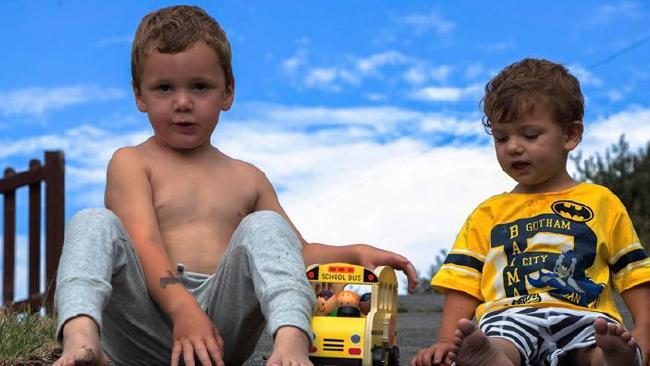 Sarah Paino's son Jordan, 3, left, and Caleb, 2. Picture: OLIVIA PAINO