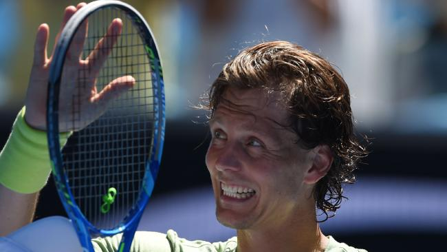 Czech Republic's Tomas Berdych is all smiles after belting Italy's Fabio Fognini. Picture: AFP