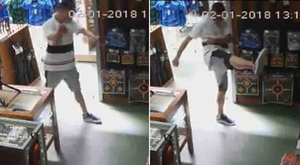 An alleged thief who entered a Hunting and Fishing store in West Auckland was caught on CCTV throwing Rocky Balboa and kung-fu moves before attempting to take off with goods.