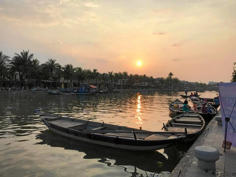 The sun sets over the river at Hoi An. Photo: Jann Burmester.