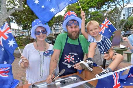 The Bruton family: Vaughan, Sam, and Donovan, 5, love a barbecue on Australia Day.