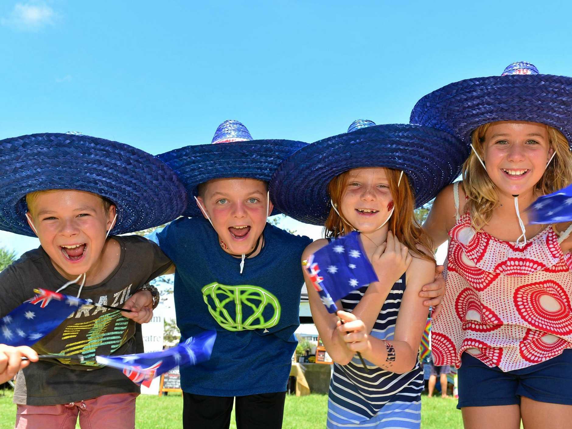 At Coolum for Australia Day. Ryley Diamond, Callum and Shea McDougall and Charli Diamond.