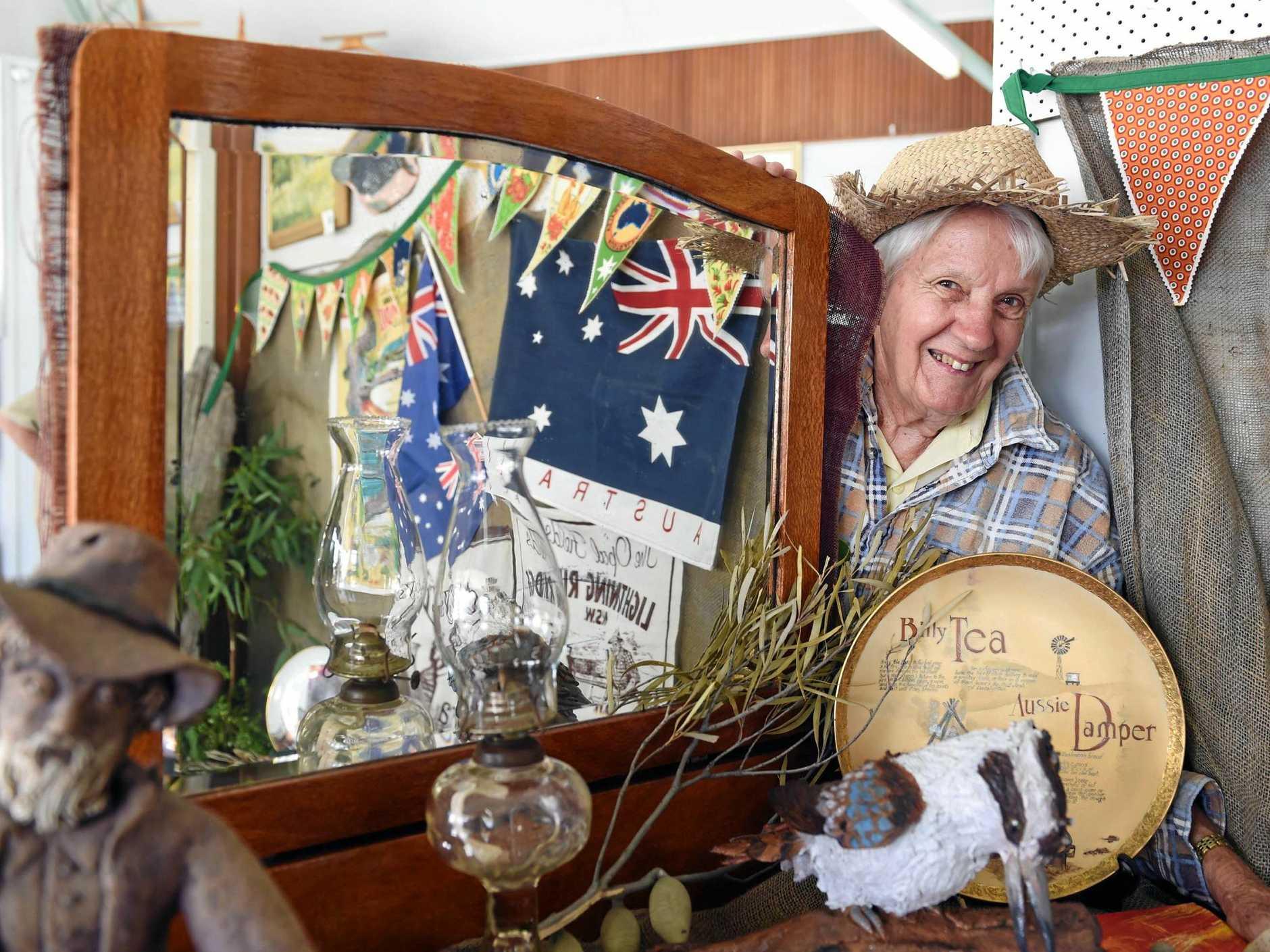 Julie Wight in the Bottlebrush Crafts' Australia Day display.