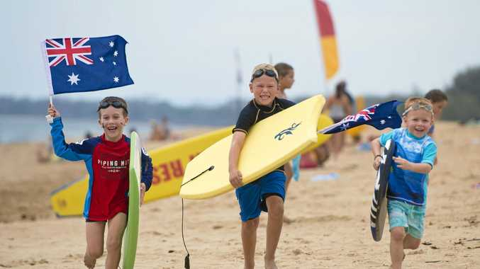 READY: Ziggy Page, Nate Barker and Will Barker at the Tannum Sands Australia Day event in 2015.