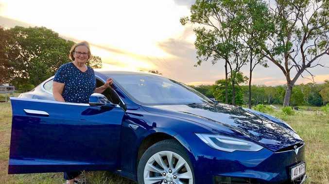NO PROBLEM: CQ Tesla enthusiast Sylvia Wilson with 'Bluey', her Tesla S75.