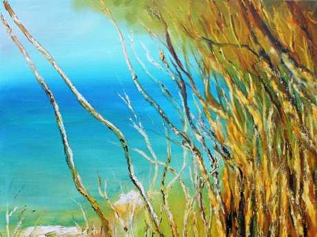 Alan Pirie's Coastal Paperbarks: 460 x 460mm oil on canvas.