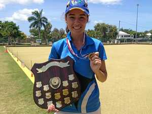 RISING STAR: Rebecca Rixon after her singles win at the  U18 State Lawn Bowls Championships.