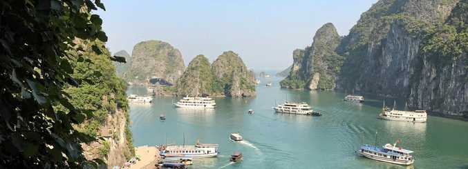 MAGNIFICENT LANDSCAPE: The breathtaking view over Halong Bay from Sung Sot Cave.