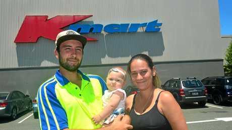 Bells Creek residents Chris Scott, Ariah Scott and Stephanie Skilton at Stockland Caloundra Shopping Centre.