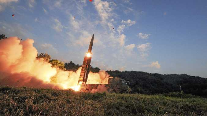 In this photo provided by South Korea Defense Ministry, South Korea's Hyunmoo II ballistic missile is fired during an exercise at an undisclosed location in South Korea.