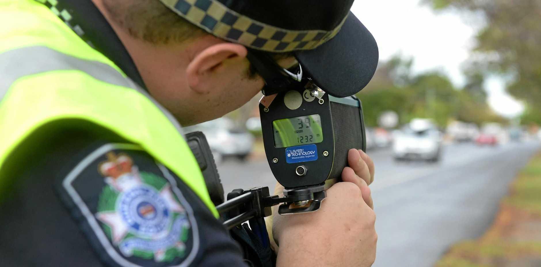 Constable Matthew Bedding participating in speed management LiDAR training.