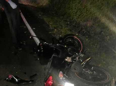 Cristy Smith's motorbike after the accident.