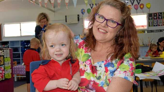 EXCITING: Four year old Maggie Allridge with her mum, Krysten.
