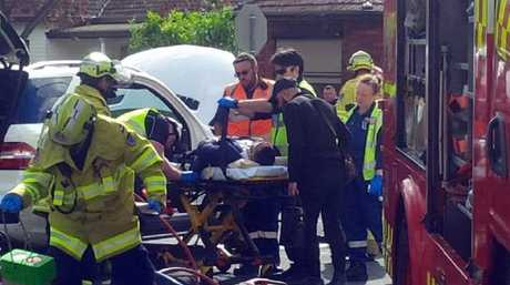 Salim Mehajer being taken to Westmead Hospital following an accident in Lidcombe. Picture: Kelly Fedor