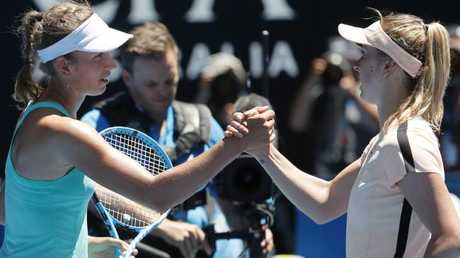 Elise Mertens and Elina Svitolina shake hands after the match. Picture: Getty Images
