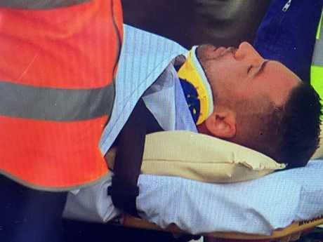 Salim Mehajer being taken to Westmead Hospital following an accident in Lidcombe. Picture: Seven News