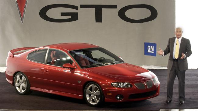 Bob Lutz unveils the Holden Monaro as a Pontiac in the US in 2003. Picture: Supplied.