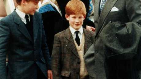 Prince William, Prince Harry and Prince Charles with Tiggy Legge-Bourke in 1994. Picture: Supplied