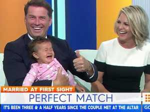 Karl Stefanovic had an awkward moment with a baby on Today this morning.