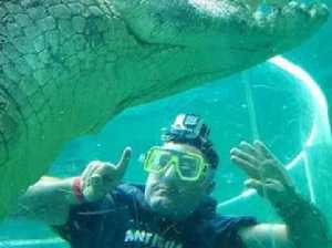 Wardrobe malfunction while croc diving