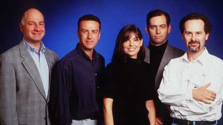 Working Dog team: Michael Hirsh with Santo Cilauro, Jane Kennedy, Rob Sitch and Tom Gleisner in 1998.