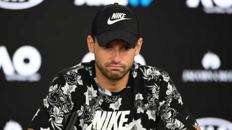 A devastated but gracious Grigor Dimitrov after the loss.