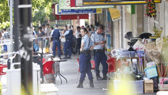 Shooting at Bankstown Plaza. Pictures: David Swift.