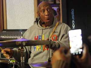 Bill Cosby plays the drums at the LaRose Jazz Club in Philadelphia on Monday. Picture: AP