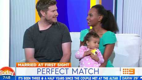 Alex and Zoe from Married at First Sight with their daughter, Harper-Rose.